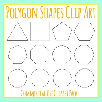 Polygon Shapes - 3 to 14 Sided Polygons Clip Art Set for Commercial Use