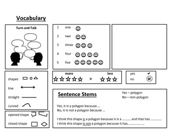 Polygon or Non-Polygon - Graphic Organizer, Sentence Stems, ESL Vocabulary Sheet
