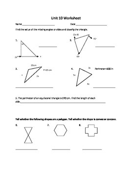 Polygon unit worksheet or study guide