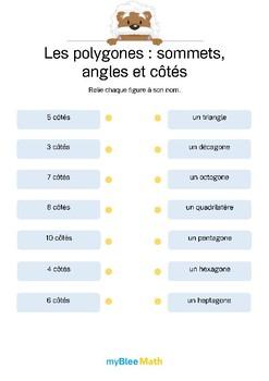 Polygones 3 -Relie chaque polygone à son nombre de côtés