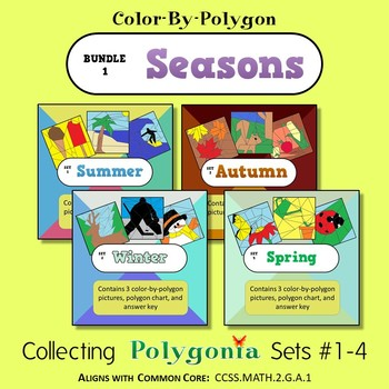 Polygonia Bundle 1:  Seasons - Color by Shape Worksheets