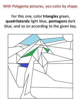 Polygonia Set 1:  Summer - Color by Shape Worksheets