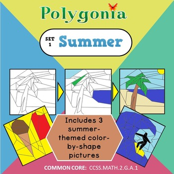 Polygonia Set 1:  Summer - Color by Shape Worksheets