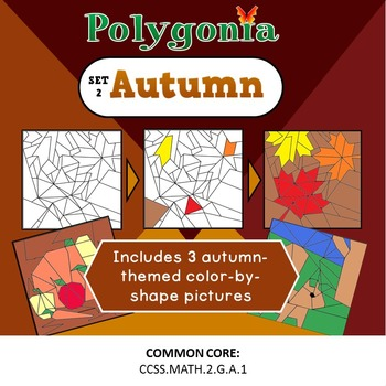 Polygonia Set 2: Autumn - Color by Shape Worksheets
