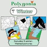 Polygonia Set 3: Winter - Color by Shape Worksheets