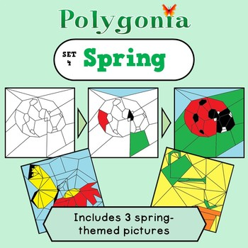 Polygonia Set 4: Spring - Color by Shape Worksheets