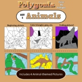 Polygonia Set 5: Animals - Color by Shape Worksheets