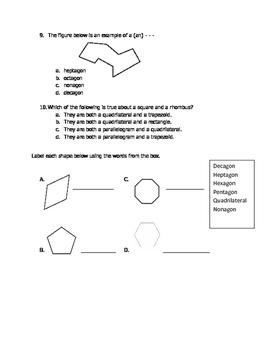 Math VA SOL 4th Polygons