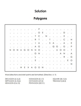 Types of Polygons Worksheet/ Word Search