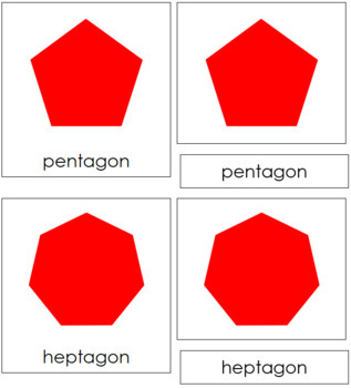 Polygons: 3-Part Cards (Complex Concepts) - Red