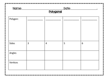 Classifying Shapes Graphic Organizer 3-10 sided shapes