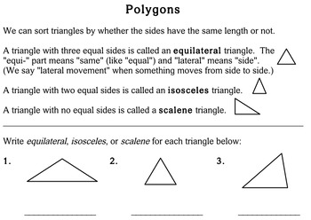 Polygons, 3rd grade - worksheets - Individualized Math