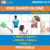 Polygons Activities - Five Geometry Review Games in One