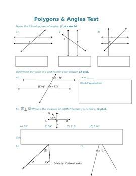 Polygons & Angles Test