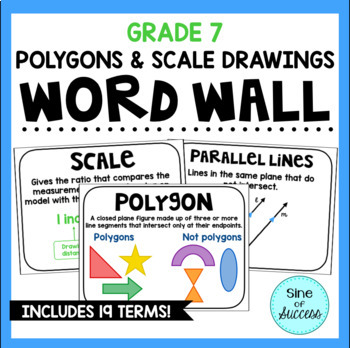 Polygons, Angles, and Scale Drawings Word Wall - Grade 7