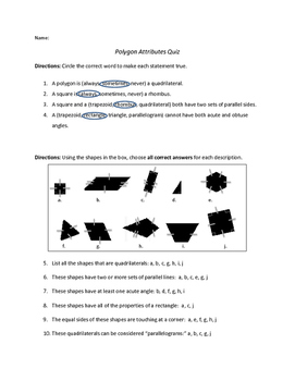 Polygons Attributes Quiz-Answer Key Included