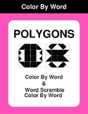 Polygons - Color By Word & Color By Word Scramble Worksheets