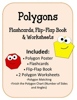 Polygons Foldable, Flip-Flap Book and Worksheets.  Math Centers and Activities