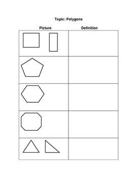 Polygons Graphic Organizer