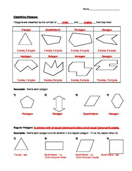 Polygons Guided Notes Page - Polygons In-Class Worksheet - Answer Key Included!