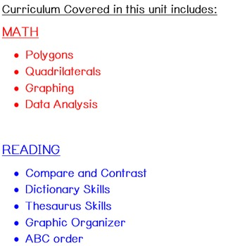 Polygons, Quadrilaterals, Graphing, Data Analysis