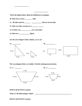 Polygons Quadrilaterals Triangles Geometry Quiz