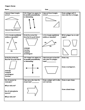 Polygons Review Sheets