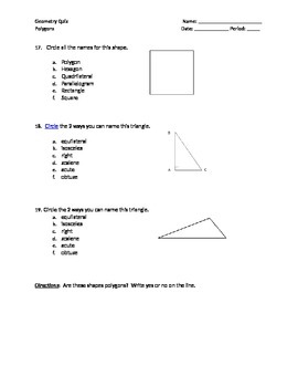 Polygons Review Worksheet