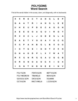 Polygons - Word Search, Word Scramble,  Secret Code,  Crack the Code