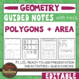 Polygons and Area -  Interactive Note-Taking Activities