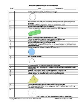Polygons and Polyhedrons - COMPLETE 63 Item List - Worksheet