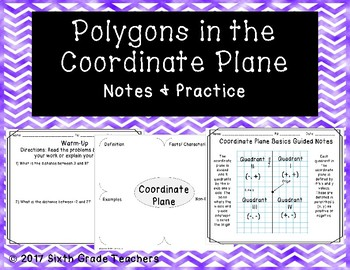 Polygons in the Coordinate Plane Notes and Practice Resources