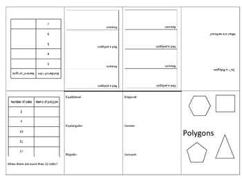 Polygons note-taking guide foldable