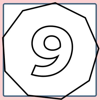 Polygons with Number of Sides Inside for Coloring / Geometry Clip Art Set