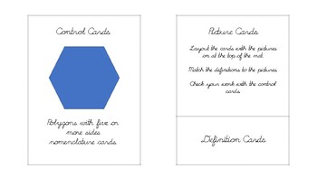 Polygons with five or more sides Geometry cards in d'nealian cursive font