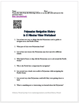 Polynesian Navigation History in 5 Minutes Video Worksheet