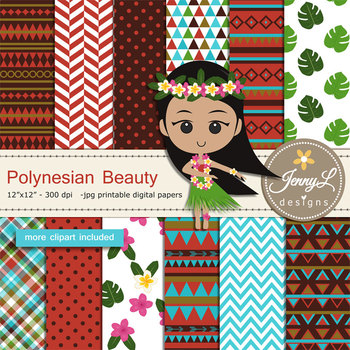 Polynesian Tribal digital paper and clipart