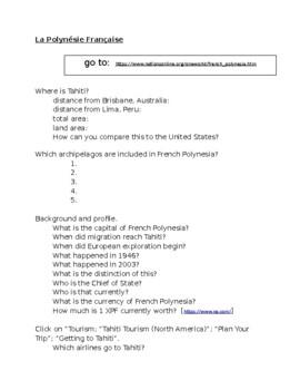 Polynésie française (French Polynesia) webquest