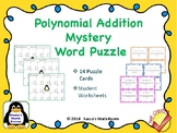 Addition of Polynomials Puzzle Task Cards - Self Checking
