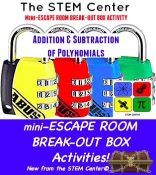 Polynomial Addition & Subtraction Mini Escape Room - Break Out Box