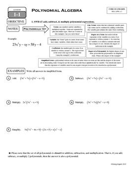 1-1 Polynomial Algebra