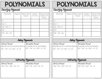 Polynomial Bundle - Notes, Scavenger Hunts and Assessments