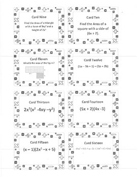 Polynomial Cards (Add/Subtract./Multiply