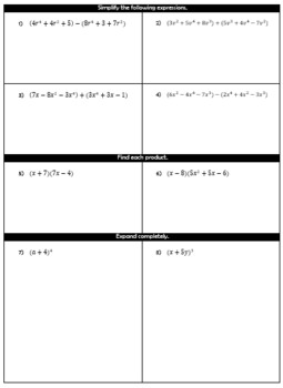 Polynomial Characteristics and Operations Quiz and Study Guide