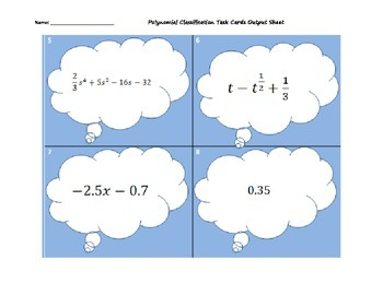 Polynomial Classification Task Cards