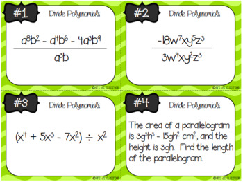 Polynomial Differentiated Task Card Bundle