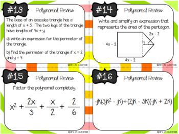 Polynomial Task Card Bundle