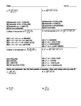 Polynomial Division Coloring Page