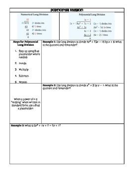 Polynomial Division Guided Notes