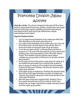 Polynomial Division Jigsaw Activity